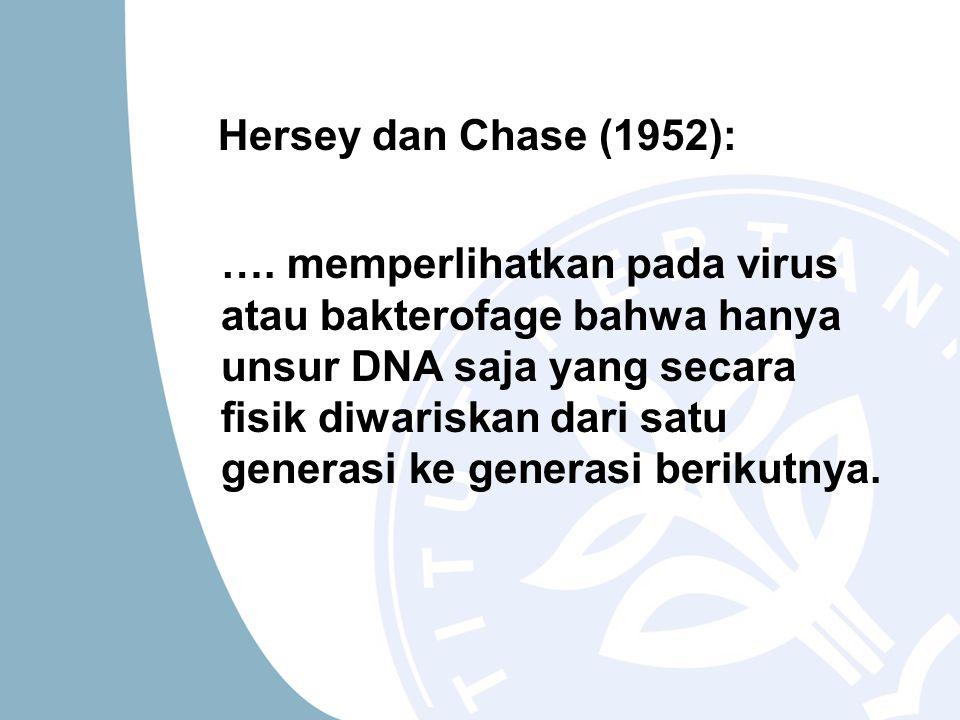 Hersey dan Chase (1952): …. memperlihatkan pada virus atau bakterofage bahwa hanya unsur DNA saja yang secara fisik diwariskan dari satu generasi ke g