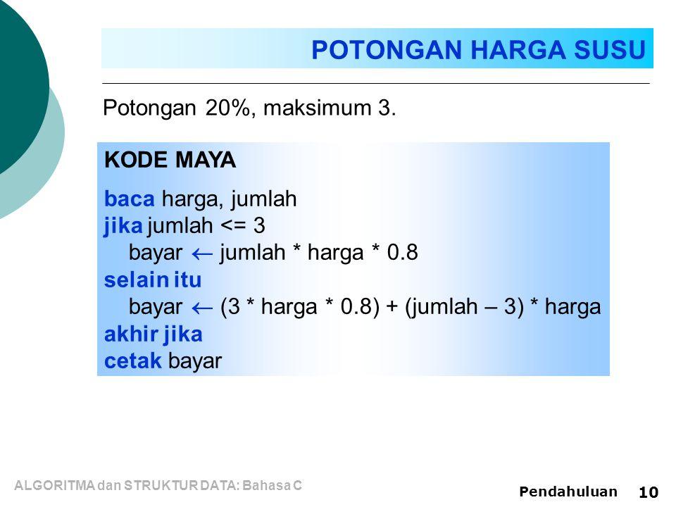 ALGORITMA dan STRUKTUR DATA: Bahasa C Pendahuluan 10 Potongan 20%, maksimum 3.