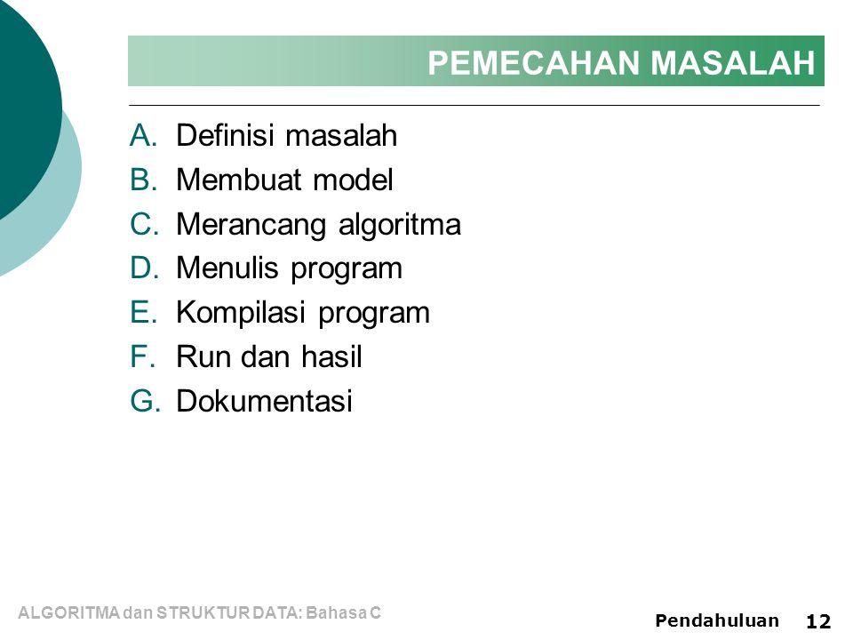 ALGORITMA dan STRUKTUR DATA: Bahasa C Pendahuluan 12 PEMECAHAN MASALAH A.Definisi masalah B.Membuat model C.Merancang algoritma D.Menulis program E.Kompilasi program F.Run dan hasil G.Dokumentasi