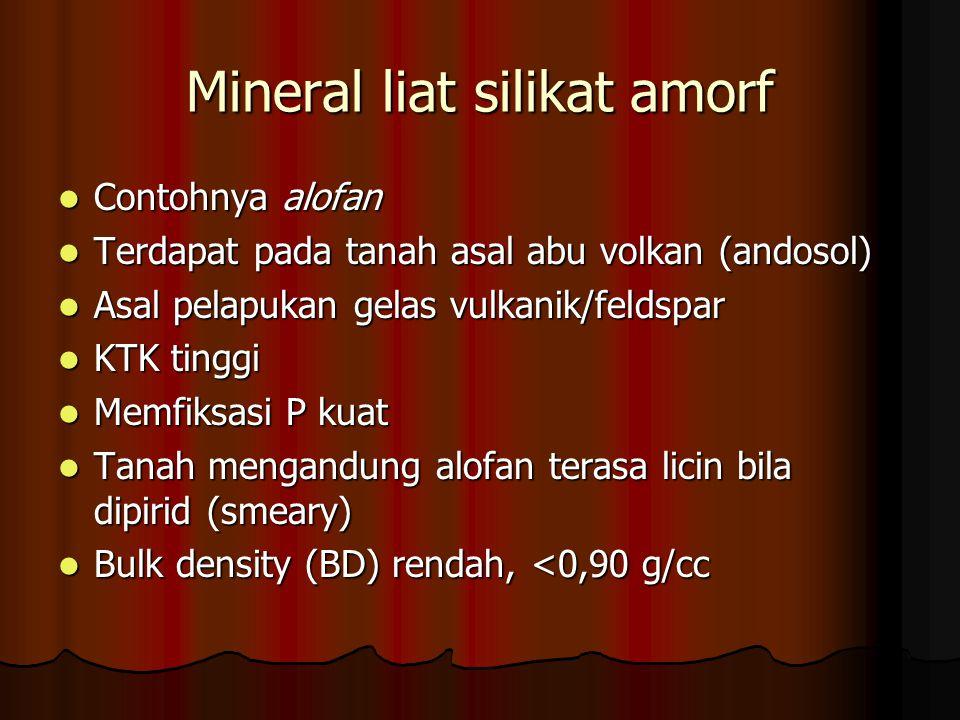 Mineral liat silikat amorf Contohnya alofan Contohnya alofan Terdapat pada tanah asal abu volkan (andosol) Terdapat pada tanah asal abu volkan (andoso