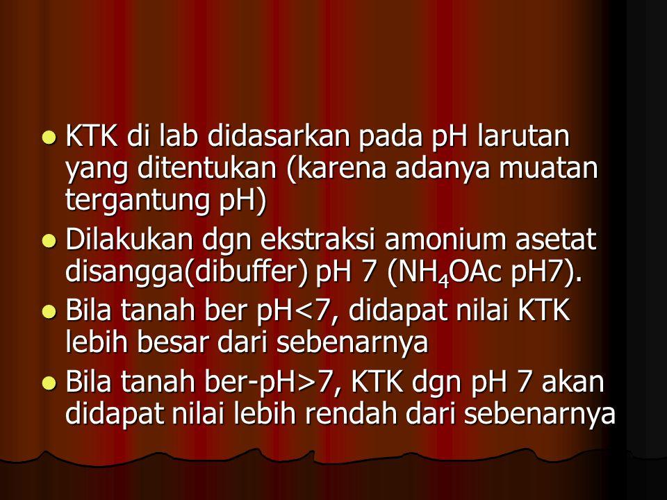 KTK di lab didasarkan pada pH larutan yang ditentukan (karena adanya muatan tergantung pH) KTK di lab didasarkan pada pH larutan yang ditentukan (kare
