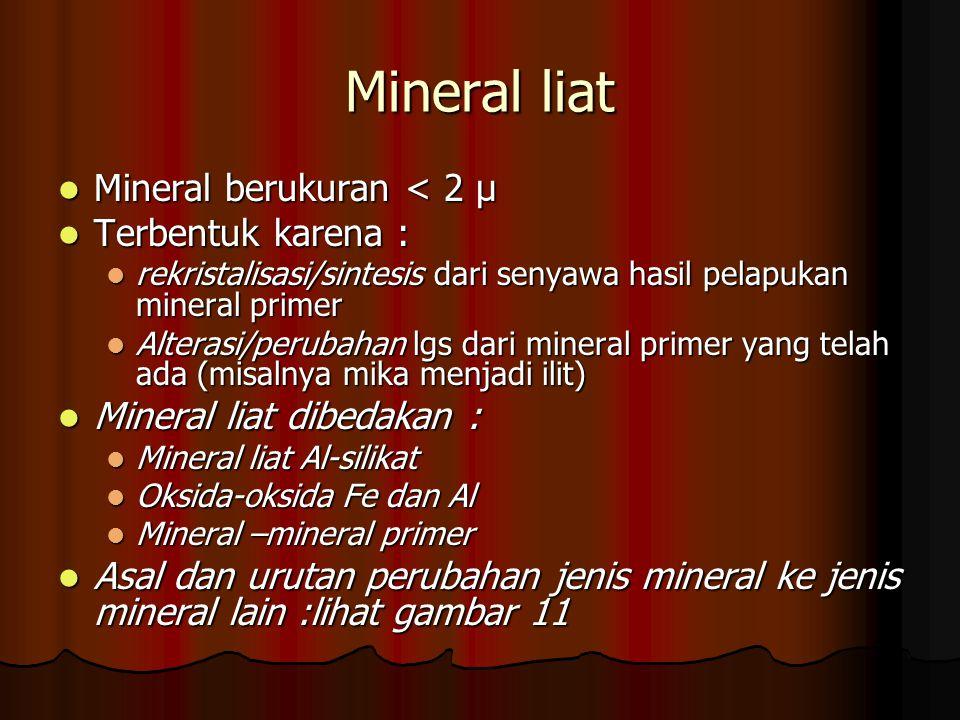Mineral liat Mineral berukuran < 2 μ Mineral berukuran < 2 μ Terbentuk karena : Terbentuk karena : rekristalisasi/sintesis dari senyawa hasil pelapuka