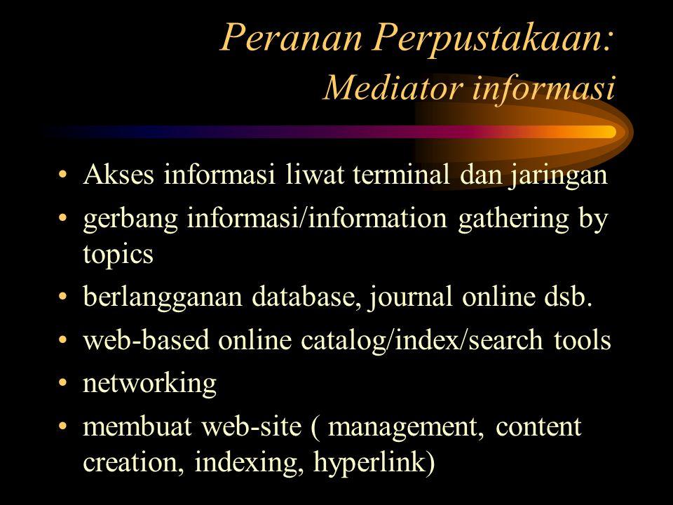 Peranan Perpustakaan: Mediator informasi Akses informasi liwat terminal dan jaringan gerbang informasi/information gathering by topics berlangganan database, journal online dsb.