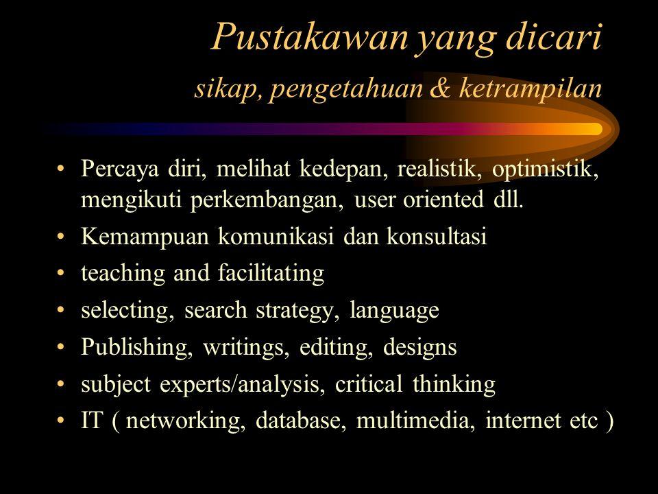 Pustakawan yang dicari sikap, pengetahuan & ketrampilan Percaya diri, melihat kedepan, realistik, optimistik, mengikuti perkembangan, user oriented dl