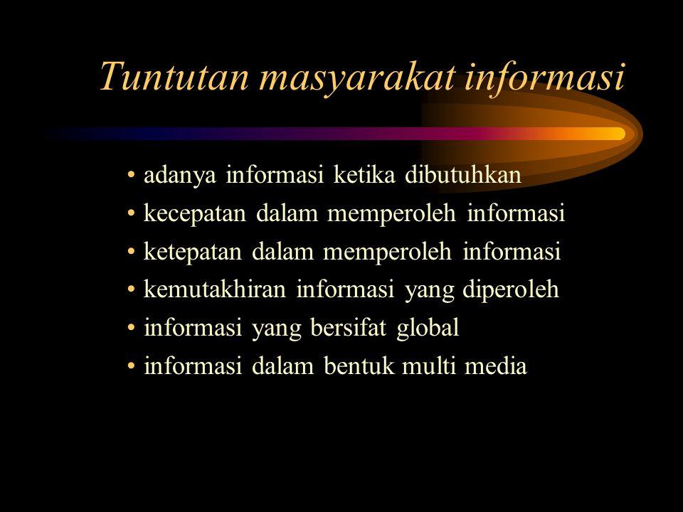 Tuntutan masyarakat informasi adanya informasi ketika dibutuhkan kecepatan dalam memperoleh informasi ketepatan dalam memperoleh informasi kemutakhiran informasi yang diperoleh informasi yang bersifat global informasi dalam bentuk multi media