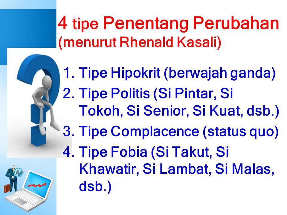 4 tipe Penentang Perubahan (menurut Rhenald Kasali) 1.Tipe Hipokrit (berwajah ganda) 2.Tipe Politis (Si Pintar, Si Tokoh, Si Senior, Si Kuat, dsb.) 3.