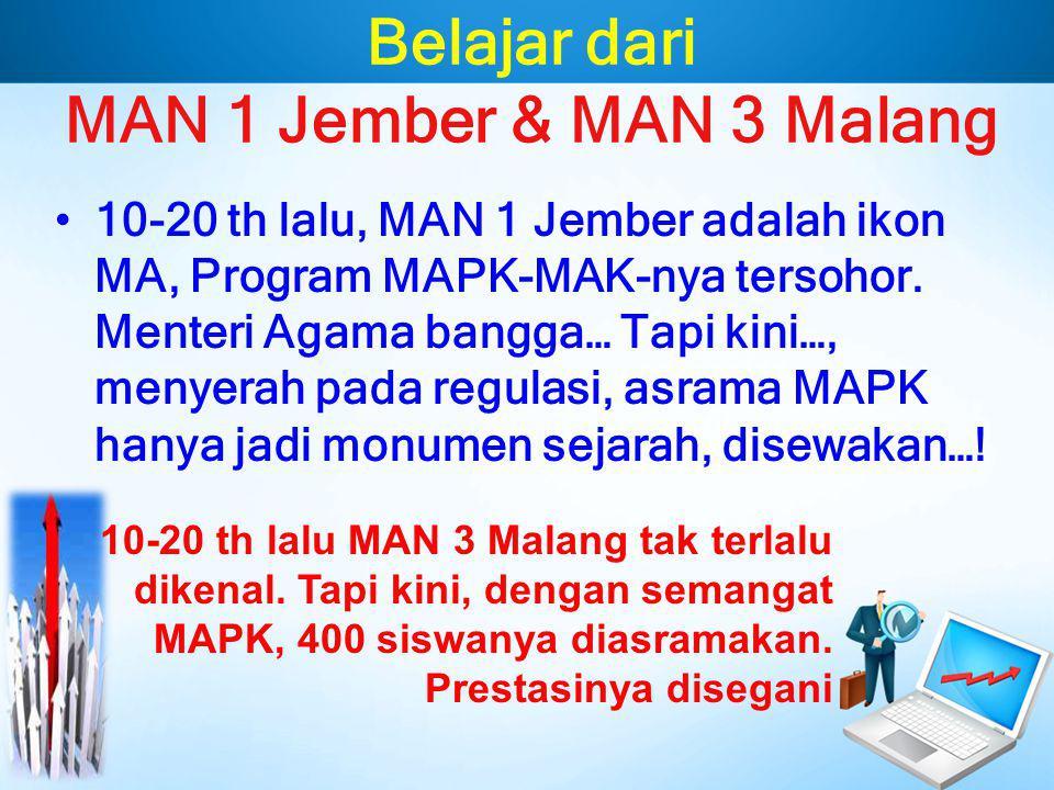 Belajar dari MAN 1 Jember & MAN 3 Malang 10-20 th lalu, MAN 1 Jember adalah ikon MA, Program MAPK-MAK-nya tersohor. Menteri Agama bangga… Tapi kini…,