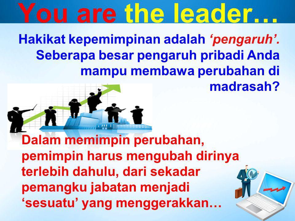 You are the leader… Dalam memimpin perubahan, pemimpin harus mengubah dirinya terlebih dahulu, dari sekadar pemangku jabatan menjadi 'sesuatu' yang me