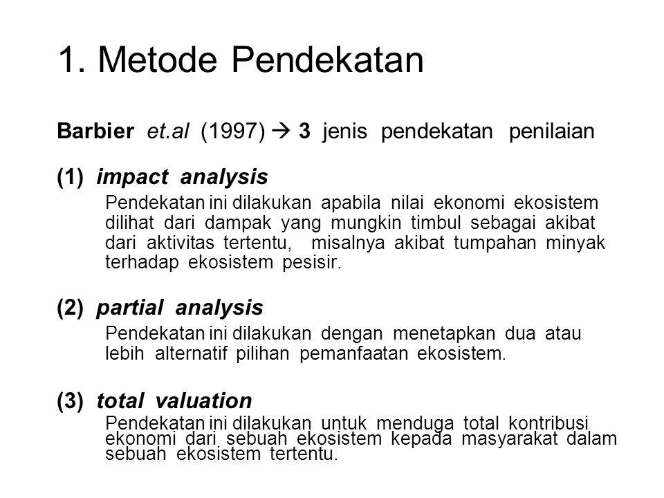 1. Metode Pendekatan Barbier et.al (1997)  3 jenis pendekatan penilaian (1) impact analysis Pendekatan ini dilakukan apabila nilai ekonomi ekosistem