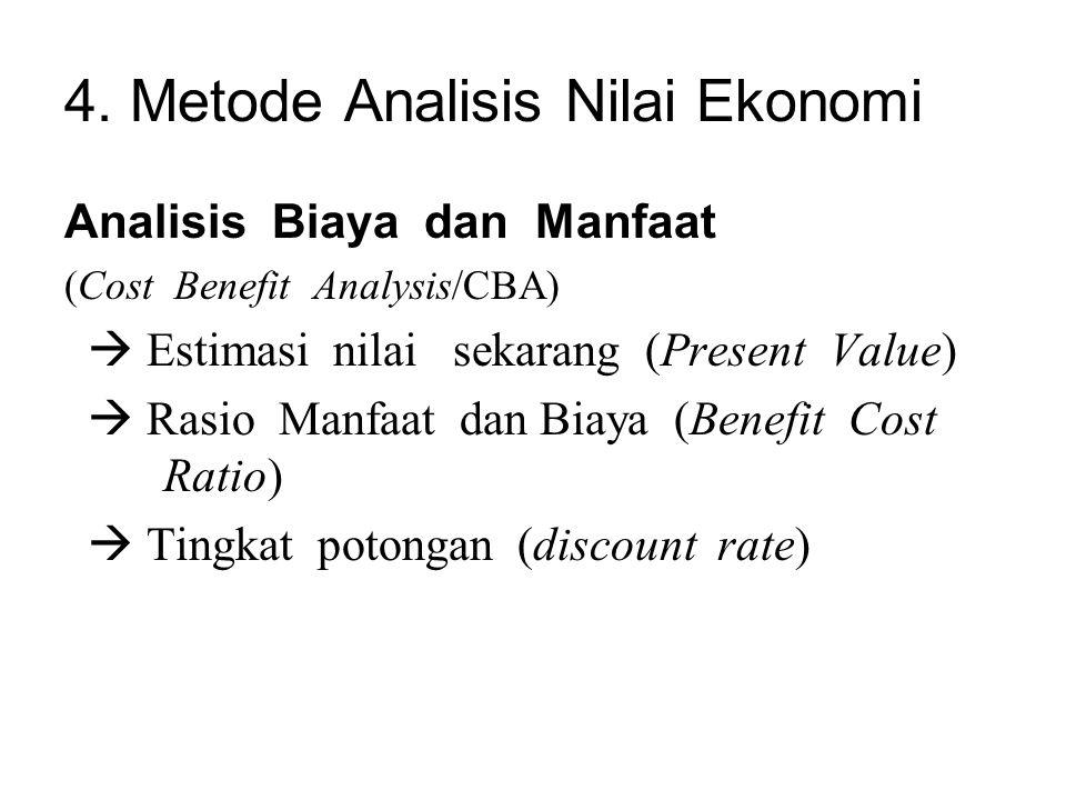 4. Metode Analisis Nilai Ekonomi Analisis Biaya dan Manfaat (Cost Benefit Analysis/CBA)  Estimasi nilai sekarang (Present Value)  Rasio Manfaat dan