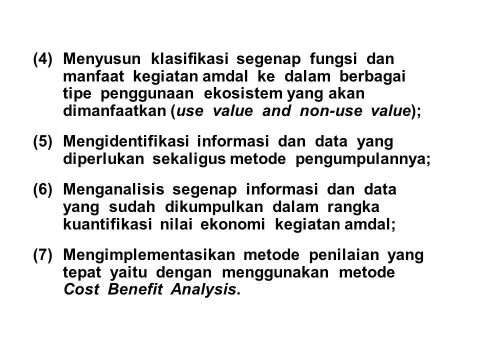 (4)Menyusun klasifikasi segenap fungsi dan manfaat kegiatan amdal ke dalam berbagai tipe penggunaan ekosistem yang akan dimanfaatkan (use value and no