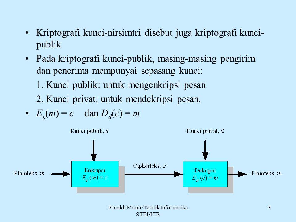 Rinaldi Munir/Teknik Informatika STEI-ITB 5 Kriptografi kunci-nirsimtri disebut juga kriptografi kunci- publik Pada kriptografi kunci-publik, masing-m
