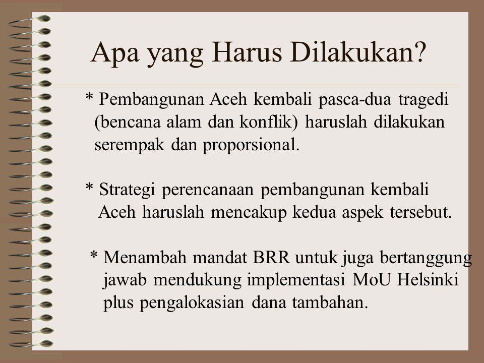 Apa yang Harus Dilakukan? * Pembangunan Aceh kembali pasca-dua tragedi (bencana alam dan konflik) haruslah dilakukan serempak dan proporsional. * Stra