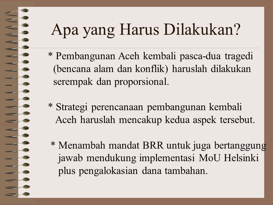 Yang juga Perlu Dilakukan: * Membentuk Forum Bersama Pendukung Perdamaian Aceh yang antara lain bertugas: 1) Memberikan dukungan berlanjut terhadap pengimplementasian MoU, 2) Sebagai penghubung antara pelaksana Nota Kesepahaman Damai dengan berbagai pelaksana aktivitas yang berhubungan dengan proses rehab dan rekons Aceh pascatsunami.
