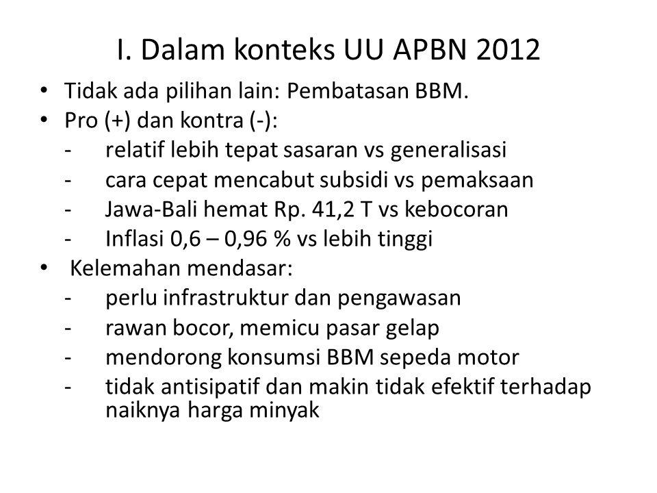 I. Dalam konteks UU APBN 2012 Tidak ada pilihan lain: Pembatasan BBM. Pro (+) dan kontra (-): -relatif lebih tepat sasaran vs generalisasi -cara cepat