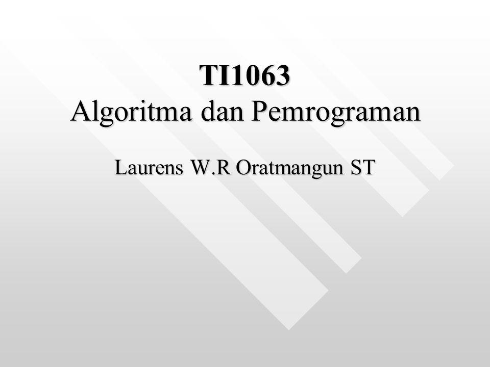 TI1063 Algoritma dan Pemrograman Laurens W.R Oratmangun ST