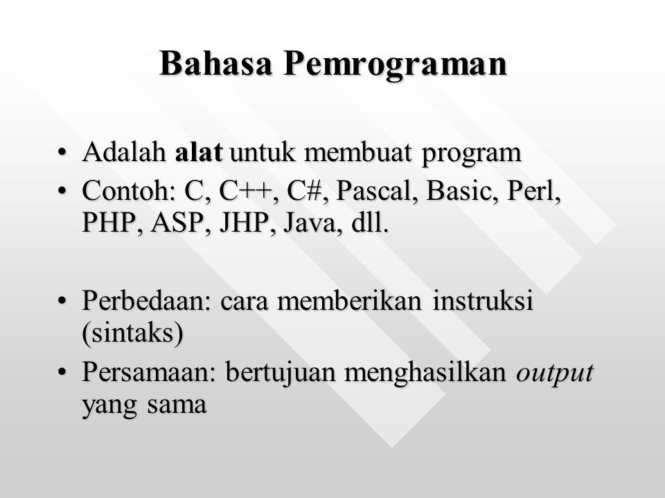 Bahasa Pemrograman Adalah alat untuk membuat programAdalah alat untuk membuat program Contoh: C, C++, C#, Pascal, Basic, Perl, PHP, ASP, JHP, Java, dl