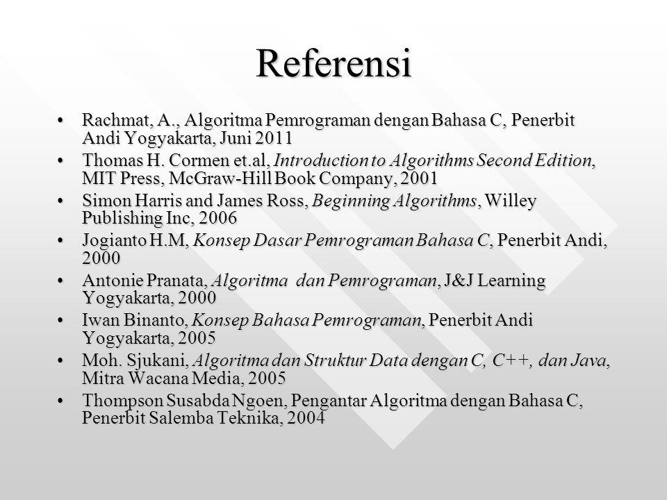 Referensi Rachmat, A., Algoritma Pemrograman dengan Bahasa C, Penerbit Andi Yogyakarta, Juni 2011Rachmat, A., Algoritma Pemrograman dengan Bahasa C, P