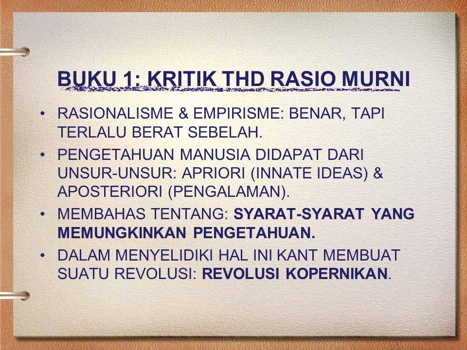 BUKU 1: KRITIK THD RASIO MURNI RASIONALISME & EMPIRISME: BENAR, TAPI TERLALU BERAT SEBELAH.