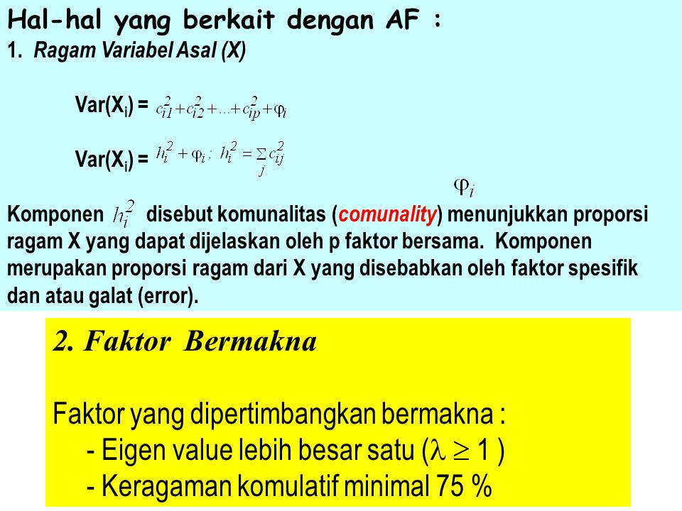 Metode Pendugaan Parameter : - PCA Solution - MLE Data Input (PCA Solution) : - Matrik Konvarians : Unit satuan sama & skala homogen - Matrik Korelasi : Unit satuan dan skala berbeda