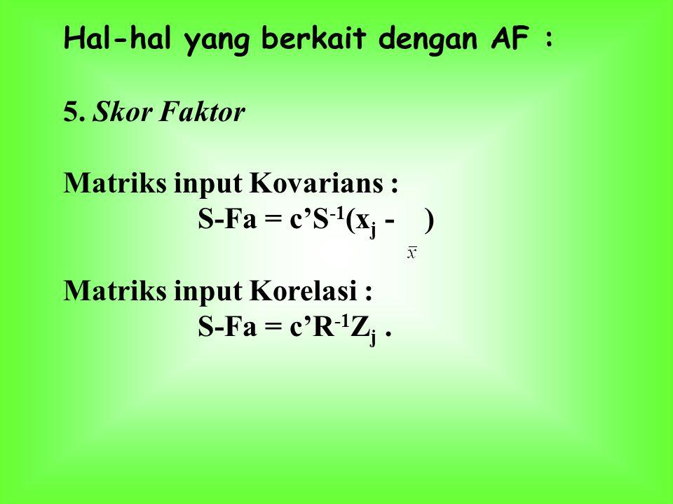 Hal-hal yang berkait dengan AF : 3. Peragam antara X dengan F Pembobot (loading) faktor : - digunakan untuk interpretasi faktor bermakna - loading bes