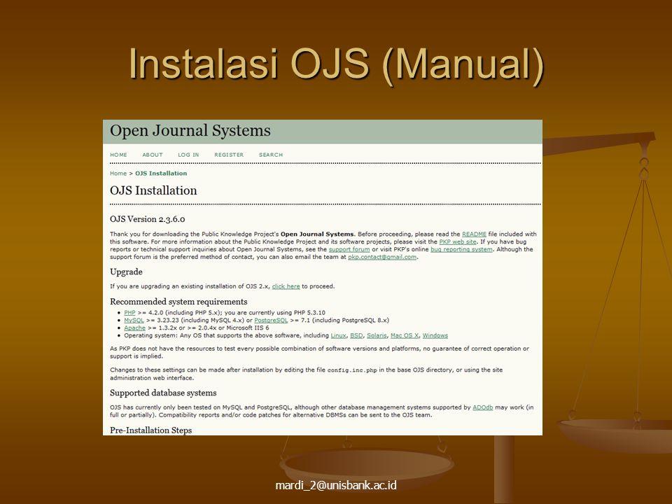 mardi_2@unisbank.ac.id Instalasi OJS (Manual)