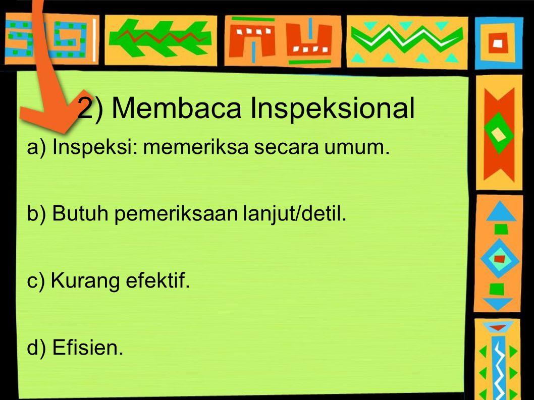 2) Membaca Inspeksional a) Inspeksi: memeriksa secara umum. b) Butuh pemeriksaan lanjut/detil. c) Kurang efektif. d) Efisien.