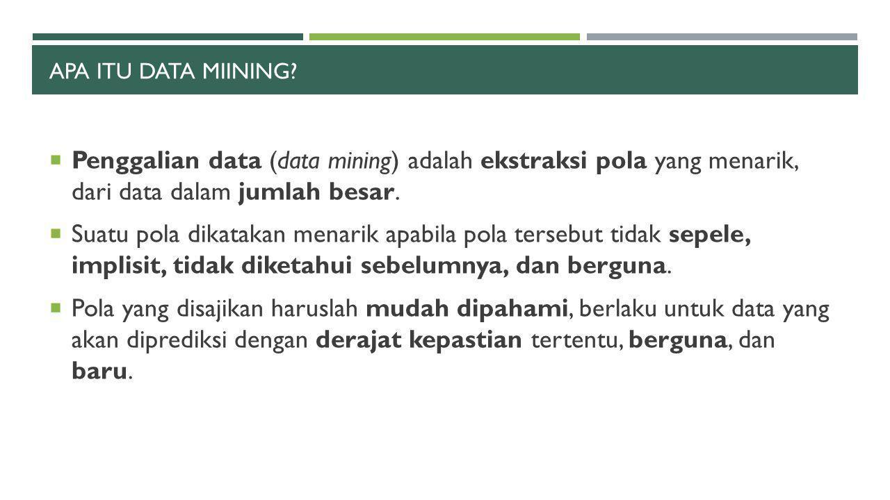 APA ITU DATA MIINING?  Penggalian data (data mining) adalah ekstraksi pola yang menarik, dari data dalam jumlah besar.  Suatu pola dikatakan menarik
