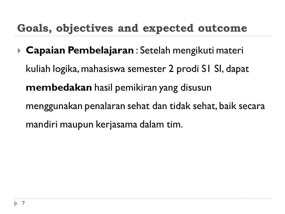 Goals, objectives and expected outcome  Capaian Pembelajaran : Setelah mengikuti materi kuliah logika, mahasiswa semester 2 prodi S1 SI, dapat membed