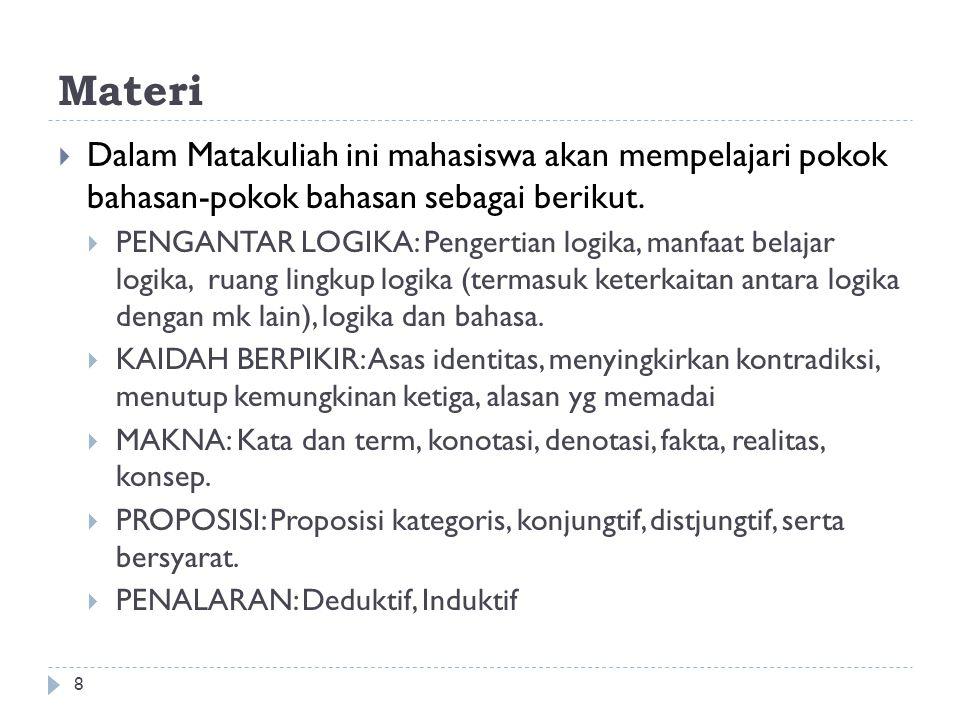 Materi 8  Dalam Matakuliah ini mahasiswa akan mempelajari pokok bahasan-pokok bahasan sebagai berikut.  PENGANTAR LOGIKA: Pengertian logika, manfaat