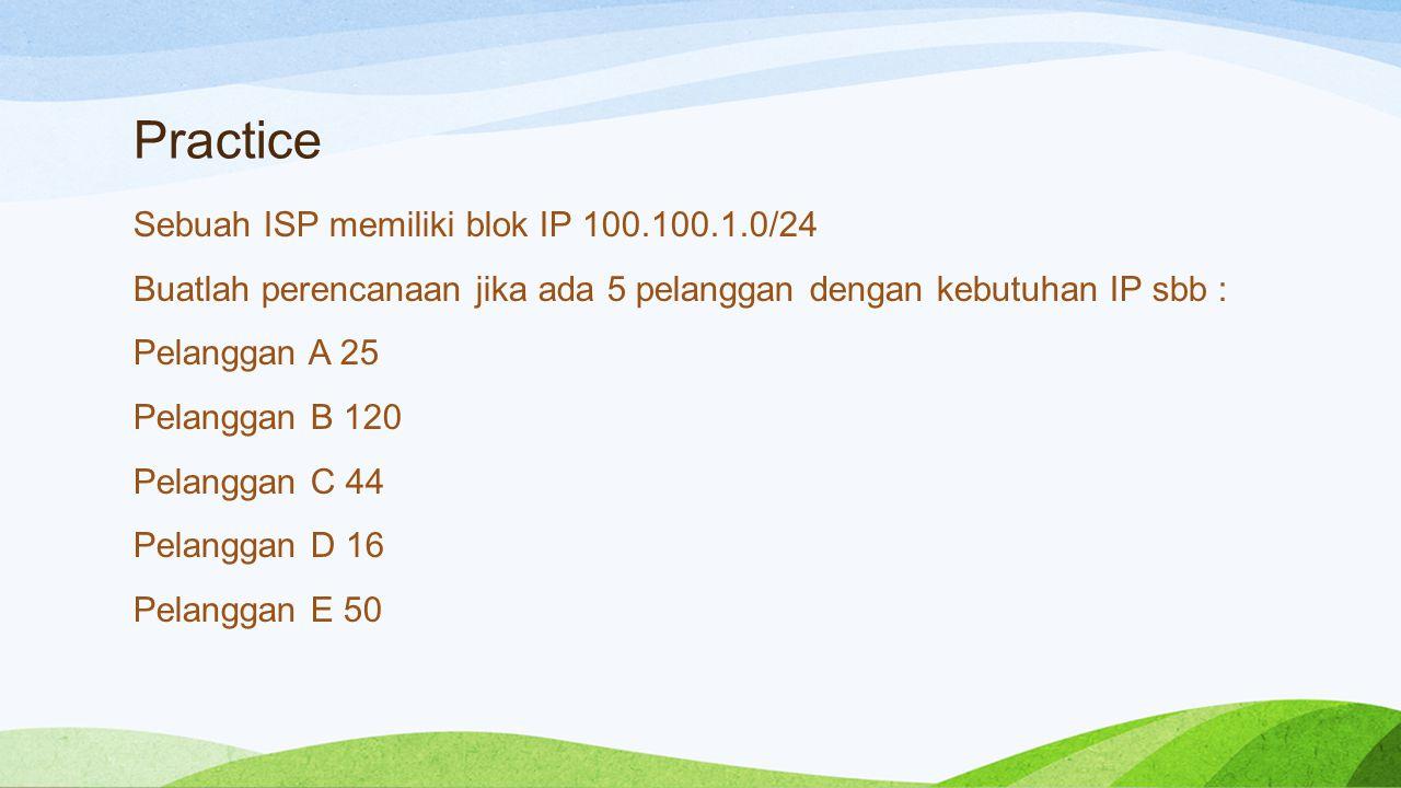 Practice Sebuah ISP memiliki blok IP 100.100.1.0/24 Buatlah perencanaan jika ada 5 pelanggan dengan kebutuhan IP sbb : Pelanggan A 25 Pelanggan B 120 Pelanggan C 44 Pelanggan D 16 Pelanggan E 50