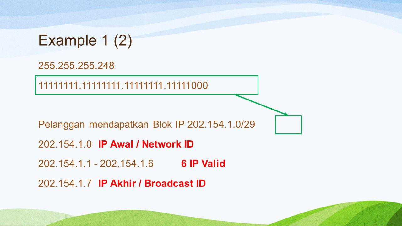 Example 1 (3) Sisa Blok IP yang bisa digunakan pelanggan Lain 202.154.1.8 - 202.154.1.254 Ada pelanggan kedua yang butuh 60 IP Publik Jadi …..