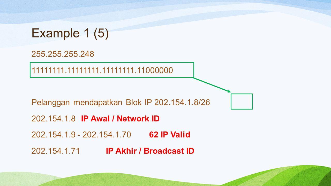 Example 1 (5) 255.255.255.248 11111111.11111111.11111111.11000000 Pelanggan mendapatkan Blok IP 202.154.1.8/26 202.154.1.8 IP Awal / Network ID 202.154.1.9 - 202.154.1.70 62 IP Valid 202.154.1.71 IP Akhir / Broadcast ID
