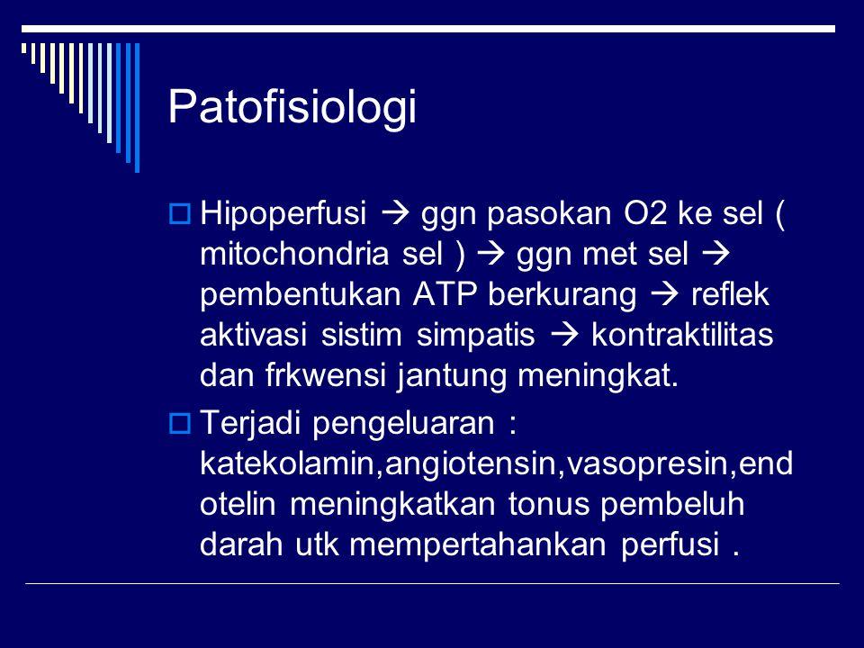 Patofisiologi  Hipoperfusi  ggn pasokan O2 ke sel ( mitochondria sel )  ggn met sel  pembentukan ATP berkurang  reflek aktivasi sistim simpatis  kontraktilitas dan frkwensi jantung meningkat.