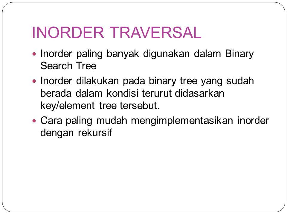 INORDER TRAVERSAL Inorder paling banyak digunakan dalam Binary Search Tree Inorder dilakukan pada binary tree yang sudah berada dalam kondisi terurut