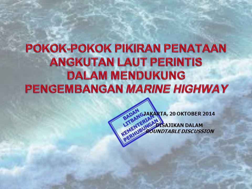 BADAN LITBANG, KEMENTERIAN PERHUBUNGAN JAKARTA, 20 OKTOBER 2014 DISAJIKAN DALAM ROUNDTABLE DISCUSSION