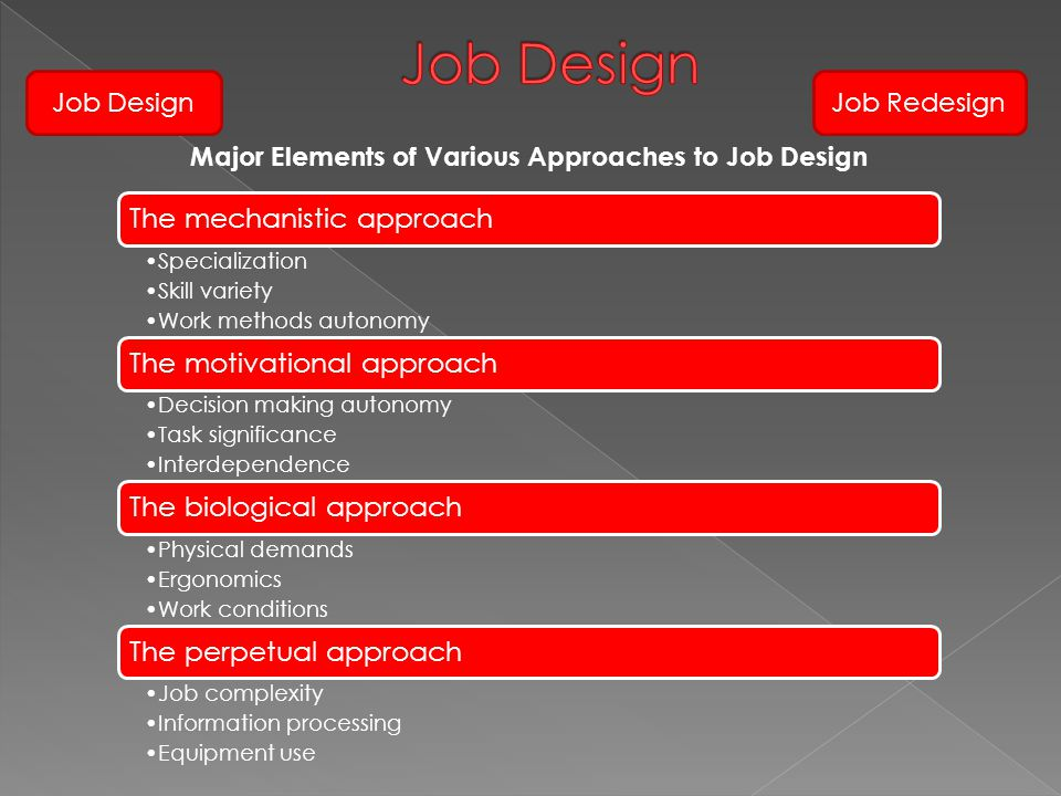 Major Elements of Various Approaches to Job Design The mechanistic approach Specialization Skill variety Work methods autonomy The motivational approa