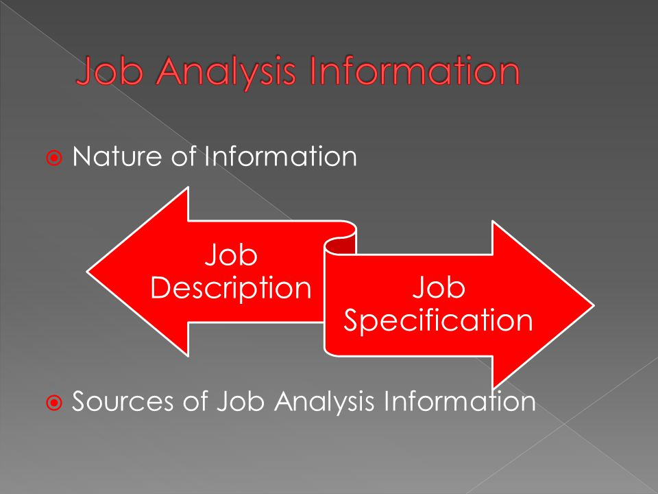  Nature of Information  Sources of Job Analysis Information Job Description Job Specification