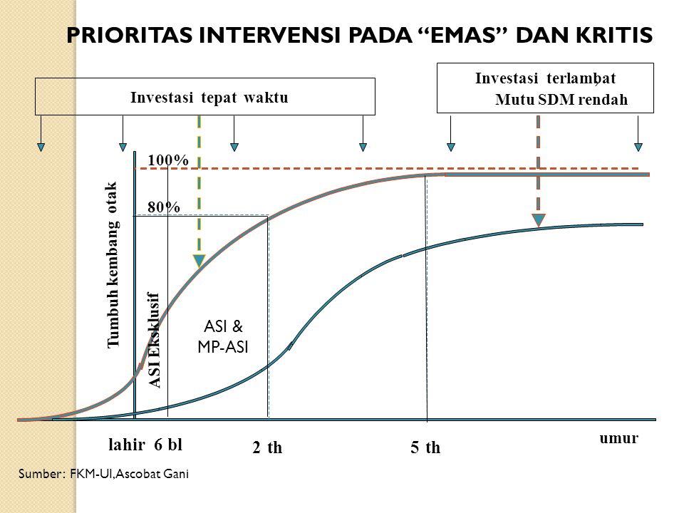 """5th Tumbuh kembang otak Investasiterlambat, Mutu SDM rendah Investasitepatwaktu umur 2th 80% lahir 100% PRIORITAS INTERVENSI PADA """"EMAS"""" DAN KRITIS 6"""