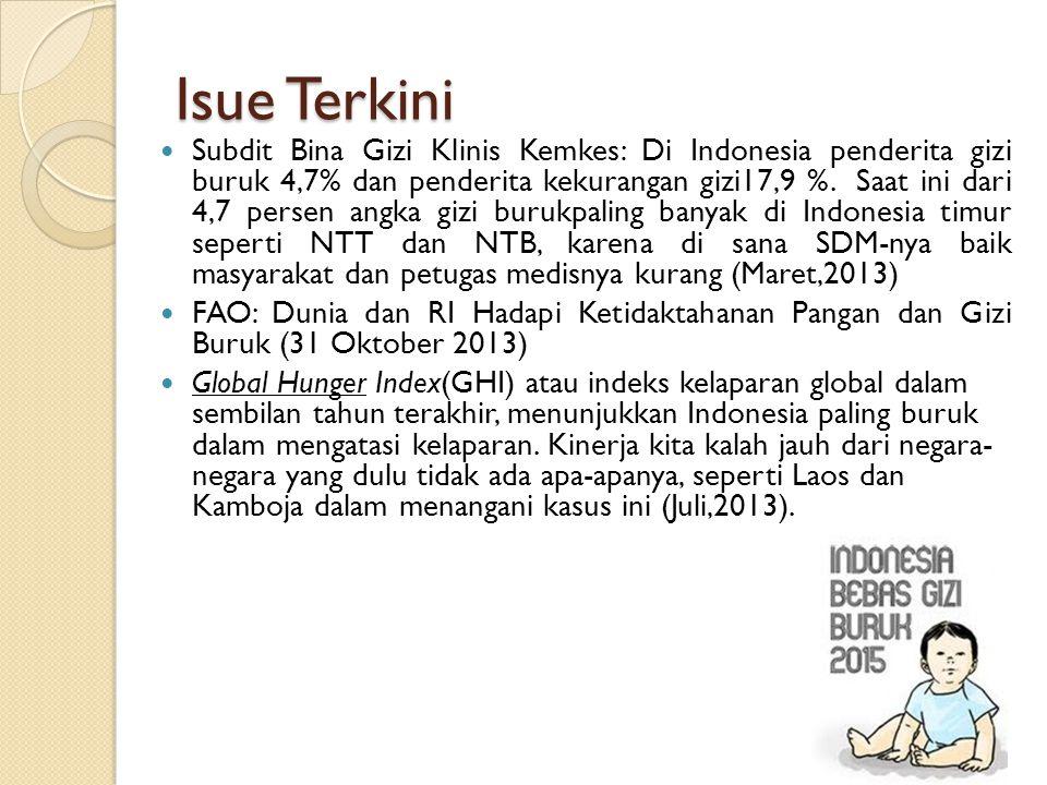 Isue Terkini Subdit Bina Gizi Klinis Kemkes: Di Indonesia penderita gizi buruk 4,7% dan penderita kekurangan gizi17,9 %. Saat ini dari 4,7 persen angk