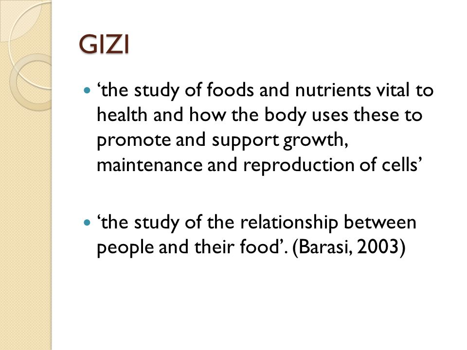 GIZI dan KESEHATAN MASYARAKAT People require nutrients such as carbohydrates, fats, and protein to provide heat and energy to regulate body processes (water, minerals, fiber, vitamins, proteins, and essential amino acids), and build and renew body tissue (water, proteins, and mineral salts).