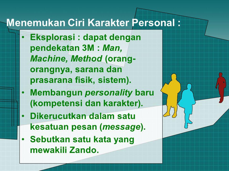 Menemukan Ciri Karakter Personal : Eksplorasi : dapat dengan pendekatan 3M : Man, Machine, Method (orang- orangnya, sarana dan prasarana fisik, sistem).