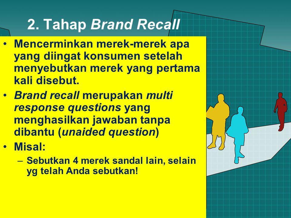 2. Tahap Brand Recall Mencerminkan merek-merek apa yang diingat konsumen setelah menyebutkan merek yang pertama kali disebut. Brand recall merupakan m