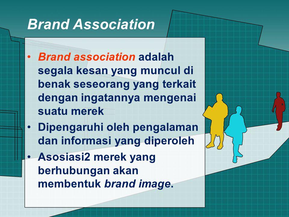 Brand Association Brand association adalah segala kesan yang muncul di benak seseorang yang terkait dengan ingatannya mengenai suatu merek Dipengaruhi oleh pengalaman dan informasi yang diperoleh Asosiasi2 merek yang berhubungan akan membentuk brand image.