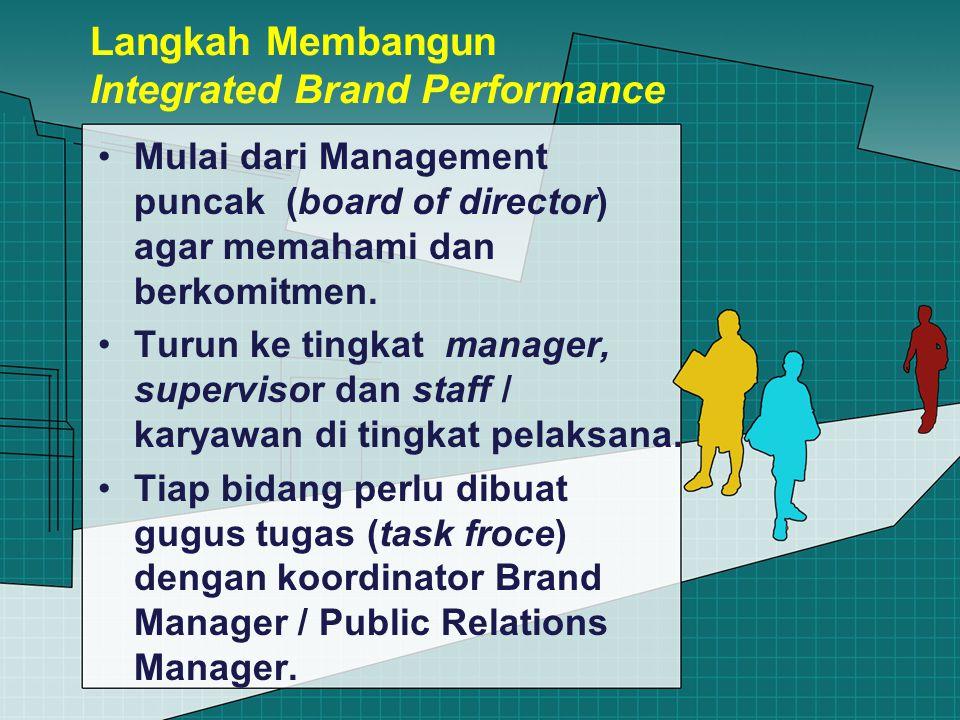 Langkah Membangun Integrated Brand Performance Mulai dari Management puncak (board of director) agar memahami dan berkomitmen.
