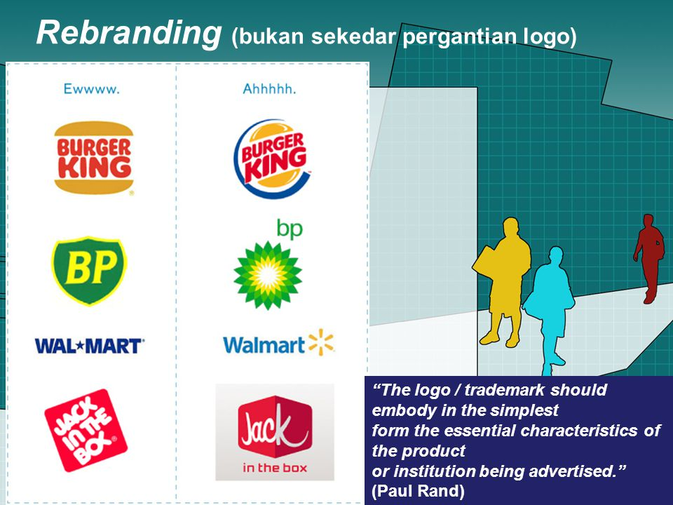 Rebranding (bukan sekedar pergantian logo) The logo / trademark should embody in the simplest form the essential characteristics of the product or institution being advertised. (Paul Rand)