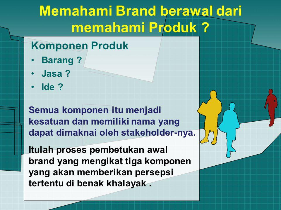 Memahami Brand berawal dari memahami Produk . Komponen Produk Barang .