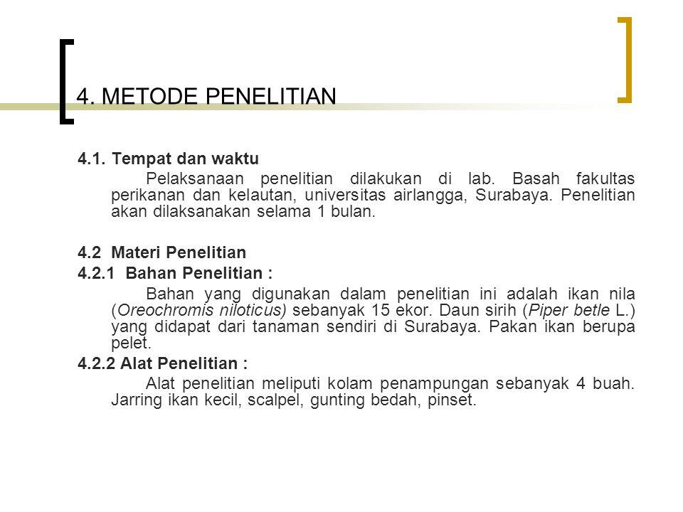 4. METODE PENELITIAN 4.1. Tempat dan waktu Pelaksanaan penelitian dilakukan di lab. Basah fakultas perikanan dan kelautan, universitas airlangga, Sura