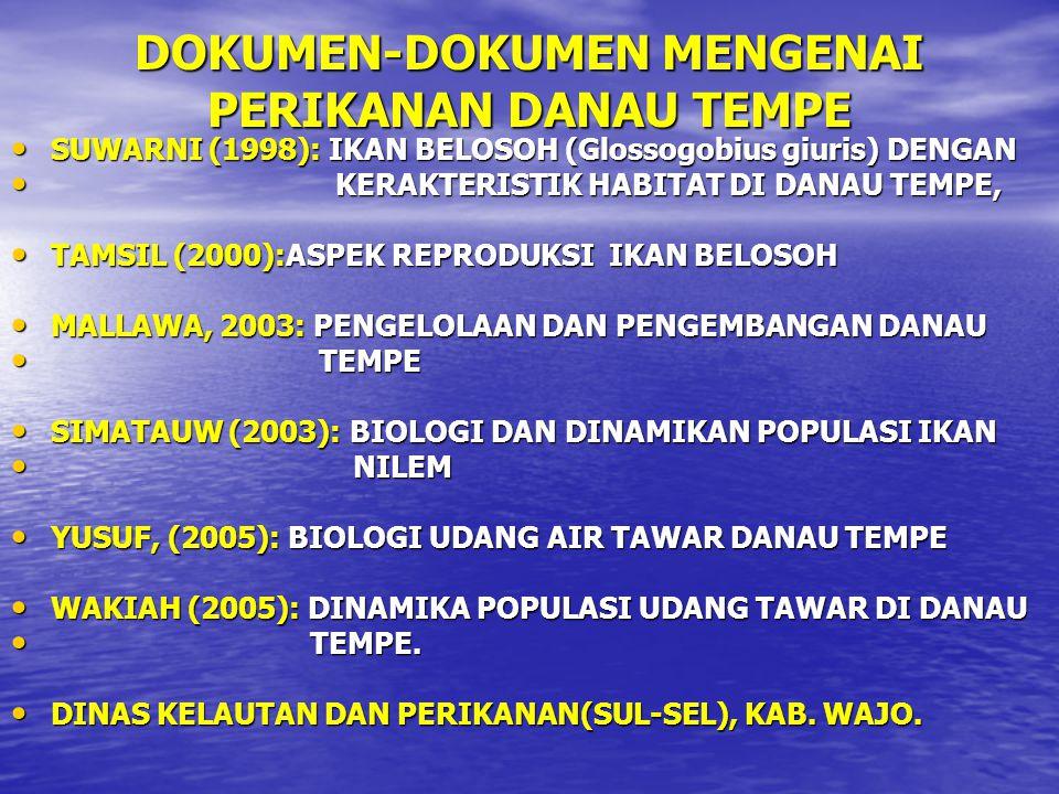 DOKUMEN-DOKUMEN MENGENAI PERIKANAN DANAU TEMPE SUWARNI (1998): IKAN BELOSOH (Glossogobius giuris) DENGAN SUWARNI (1998): IKAN BELOSOH (Glossogobius gi