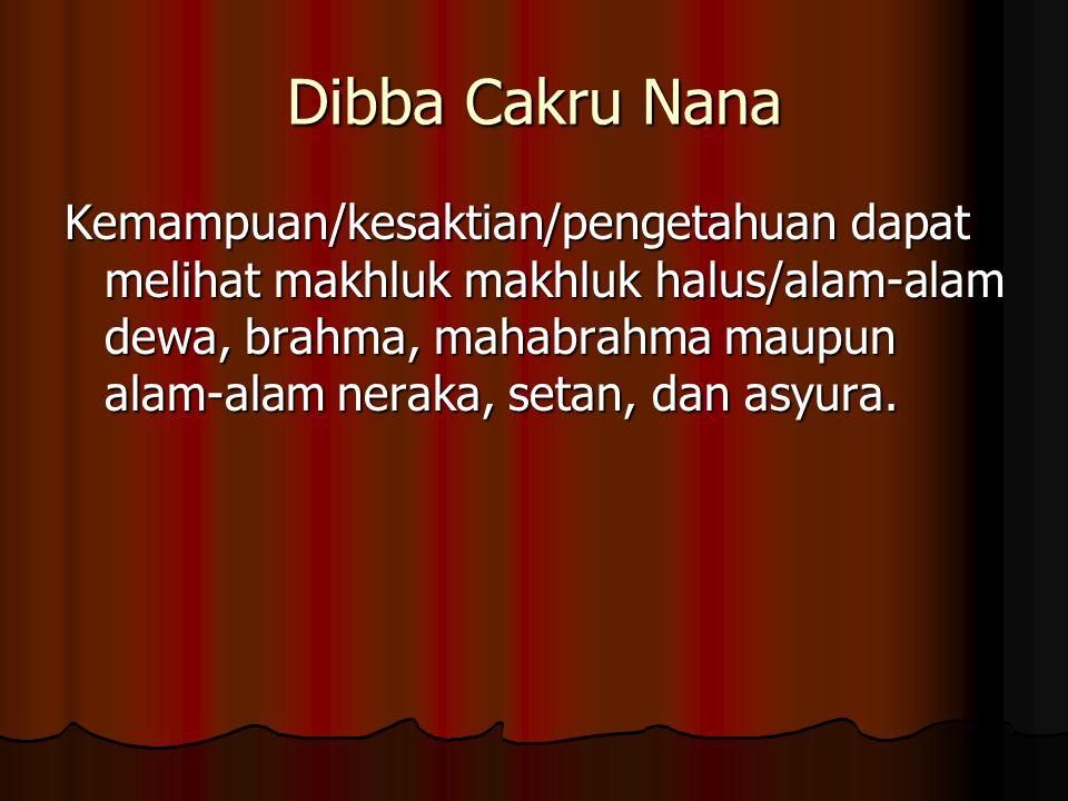 Dibba Cakru Nana Kemampuan/kesaktian/pengetahuan dapat melihat makhluk makhluk halus/alam-alam dewa, brahma, mahabrahma maupun alam-alam neraka, setan, dan asyura.
